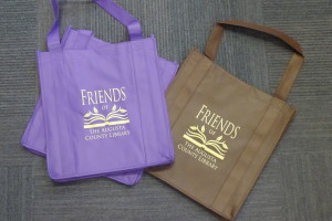 purple and brown book bags