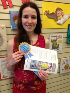 Olivia Hathaway with her bookmark design